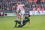 15.04.2018, Weser Stadion, Bremen, GER, 1.FBL, Werder Bremen vs RB Leibzig, im Bild<br /> <br /> Diego Demme (RB Leipzig #31)<br /> Zlatko Junuzovic (Werder Bremen #16)<br /> <br /> Foto &copy; nordphoto / Kokenge
