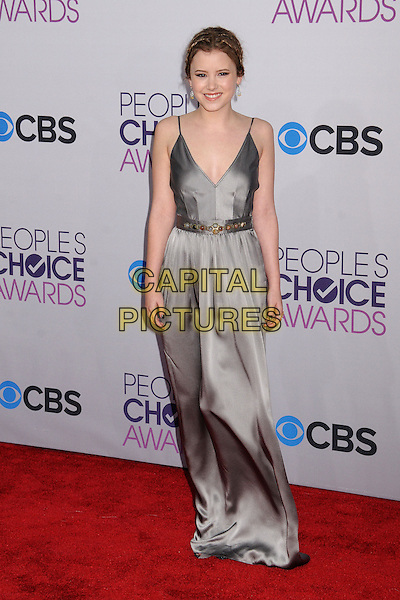 Taylor Spreitler.People's Choice Awards 2013 - Arrivals held at Nokia Theatre L.A. Live, Los Angeles, California, USA..January 9th, 2013.full length dress silver grey gray silk satin hair up braids plaits .CAP/ADM/BP.©Byron Purvis/AdMedia/Capital Pictures.
