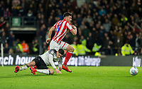 31st January 2020; Pride Park, Derby, East Midlands; English Championship Football, Derby County versus Stoke City; Tom Lawrence of Derby County is brought down by Danny Batth of Stoke City