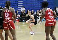 20.1.2014 New Zealand's Camilla Lees in action during the netball test match in London, England. Mandatory Photo Credit (Pic: David Klein). ©Michael Bradley Photography.