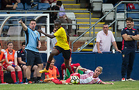 Tanya Blacksley of Stevenage Ladies looks on as Rinsola Babajide of Watford Ladies beats her tackle during the pre season friendly match between Stevenage Ladies FC and Watford Ladies at The County Ground, Letchworth Garden City, England on 16 July 2017. Photo by Andy Rowland / PRiME Media Images.