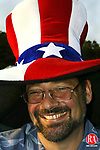 WASHINGTON, CT - 04 JULY 2005 -070405JS04--Mark Crane of Bethlehem wore his stars and stripes hat to the annual Fourth of July fireworks display at Shepaug High School in Washington on Monday.  --Jim Shannon Photo-- Mark Crane, Washington Shepaug High School, Bethlehem are CQ