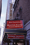 """Theatre Marquee for Zoe Caldwell starring in """"Master Class""""  at the Golden Theatre on November 1, 1995 in New York City."""