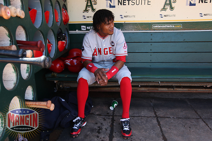 OAKLAND, CA - JULY 19:  Erick Aybar #2 of the Los Angeles Angels of Anaheim gets ready in the dugout before the game against the Oakland Athletics at the Oakland-Alameda County Coliseum on July 19, 2009 in Oakland, California. Photo by Brad Mangin