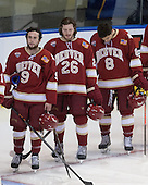 Gabe Levin (DU - 9), Evan Janssen (DU - 26), Trevor Moore (DU - 8) - The Boston College Eagles defeated the University of Denver Pioneers 6-2 in their NCAA Northeast Regional semi-final on Saturday, March 29, 2014, at the DCU Center in Worcester, Massachusetts.