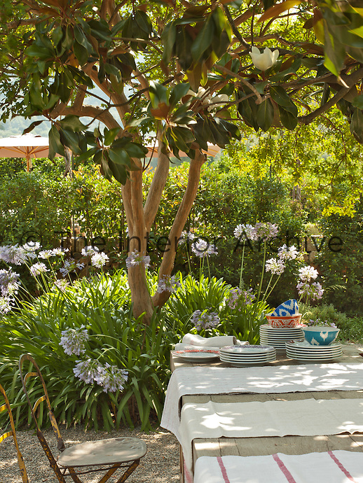 A wooden table and metal chairs are set outside in the garden of a stone villa, shaded by a magnolia tree, perfect for al fresco dining.