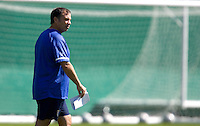 Bruce Arena watches the USA during training in Hamburg, Germany, for the 2006 World Cup, June, 8, 2006.