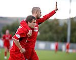 Goalscorer Lewis Vaughan with goal provider Gordon Smith