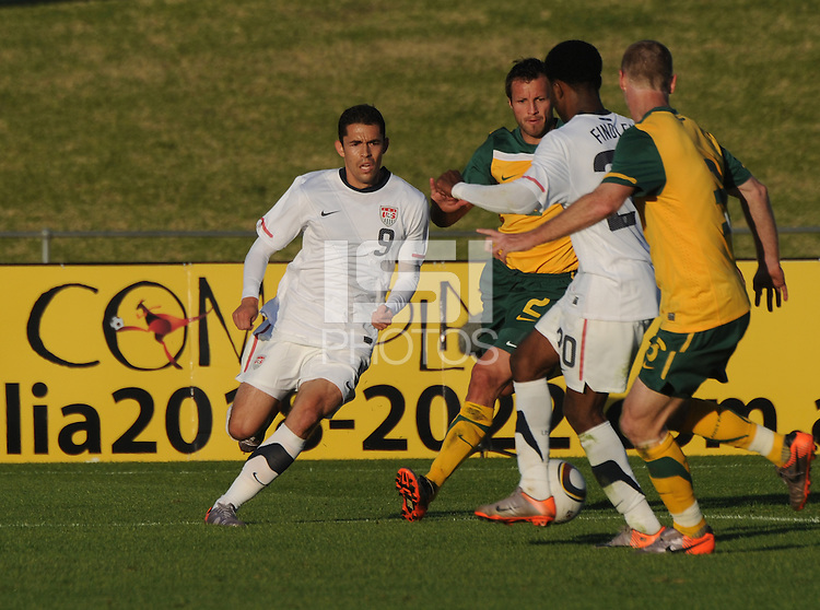 American  substitute forward Hercules Gomez (9), looks to run onto a through ball  in stoppage time.The U.S. won the match over Australia, 3-1, played June 5th, in Ruimsig Stadium,  at Roodepoort, South Africa.