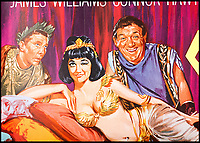BNPS.co.uk (01202 558833)<br /> Pic: PropStore/BNPS<br /> <br /> Comedy Gold...Williams, James and Amanda Barrie.<br /> <br /> What a Carry On...banned poster set to sell for £3000.<br /> <br /> An incredibly rare movie poster from the slapstick classic Carry On Cleo has finally had the last laugh, 55 years after it was banned from use.<br /> <br /> It's now twice as valuable to movie buffs as the original Cleopatra poster starring Richard Burton and Elizabeth Taylor that it attempted to lampoon.<br /> <br /> The artwork for the 1964 comedy classic had to be binned after movie bosses of the far more expensive Taylor/Burton film from the previous year had complained about blatant copyright abuse.<br /> <br /> The poster for the original 1963 epic showed Taylor as Cleopatra sprawled on a bed with Burton's Mark Anthony stood over her.<br /> <br /> The tongue-in-cheek Carry On version featured a winking Amanda Barrie and a leering Sid James  stood behind her. <br /> <br /> The Prop Store are also selling an original Cleopatra poster in the same sale with a estimate of £1500...only half the value of the Carry On version.