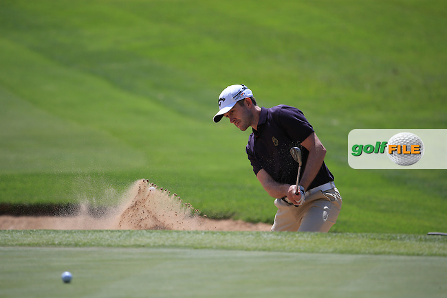Stuart Manley (WAL) in action from the bunker on the first during Round Three of the 2016 BMW SA Open hosted by City of Ekurhuleni, played at the Glendower Golf Club, Gauteng, Johannesburg, South Africa.  09/01/2016. Picture: Golffile | David Lloyd<br /> <br /> All photos usage must carry mandatory copyright credit (&copy; Golffile | David Lloyd)