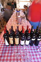 In the tasting room, a selection of Pisano wines on a red and white chequered table cloth. Bodega Pisano Winery, Progreso, Uruguay, South America