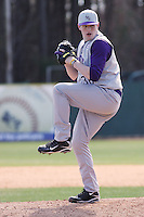 Kevin Munson of James Madison University pitching in a game against UC Irvine at the Baseball at the Beach Tournament held at BB&T Coastal Field in Myrtle Beach, SC on February 28, 2010.