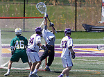 JD Colarusso (#9) makes a save as UAlbany Lacrosse defeats Vermont 14-4  in the American East Conference Championship game at Casey Stadium, May 5.