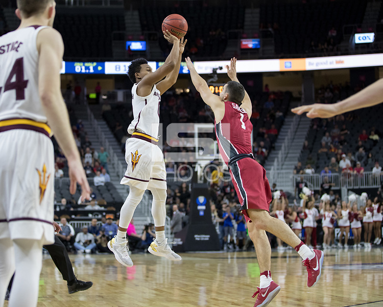 LAS VEGAS, NV - March 8, 2017: Stanford Cardinal Men's Basketball team vs. the Arizona State Sun Devils.  Final Score: Stanford Cardinal 88, Arizona State Sun Devils 98