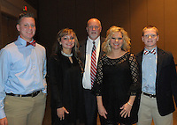 NWA Democrat Gazette/JOCELYN MURPHY<br /> Isaac (from left), Rachel, Craig, Shelley and Ty Frost enjoy the seventh annual Brandon Burlsworth Legends Dinner, hosted at the Fort Smith Convention Center on Friday, Oct. 20, 2016.