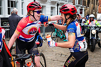 Picture by Alex Whitehead/SWpix.com - 13/05/2018 - British Cycling - HSBC UK National Women's Road Series - Lincoln Grand Prix - Rebecca Durrell of Storey Racing celebrates the win with Emily Nelson.