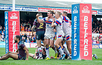 Picture by Allan McKenzie/SWpix.com - 08/04/2018 - Rugby League - Betfred Super League - Wakefield Trinity v Leeds Rhinos - The Mobile Rocket Stadium, Wakefield, England - Matty Ashurst celebrates his try against Leeds, Betfred, branding.