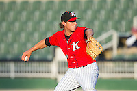 Kannapolis Intimidators relief pitcher Brad Salgado (1) in action against the Augusta GreenJackets at CMC-NorthEast Stadium on August 3, 2014 in Kannapolis, North Carolina.  The Intimidators defeated the GreenJackets 10-5. (Brian Westerholt/Four Seam Images)