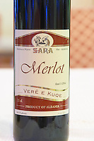 Bottle of Pijeve Sara Fier Merlot. Label detail. Tirana capital. Albania, Balkan, Europe.