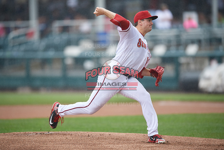 Harrisburg Senators starting pitcher Wil Crowe (18) delivers a pitch during a game against the Akron RubberDucks on August 19, 2018 at FNB Field in Harrisburg, Pennsylvania.  Akron defeated Harrisburg 3-0 in a rain shortened game.  (Mike Janes/Four Seam Images)