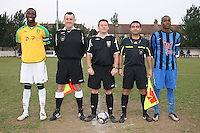Pre-match line-up - Lapton (blue/black) vs Bancroft United (yellow/white) - Hackney & Leyton League Dickie Davies Cup Final at Waltham Forest FC - 29/04/11 - MANDATORY CREDIT: Gavin Ellis/TGSPHOTO - Self billing applies where appropriate - Tel: 0845 094 6026