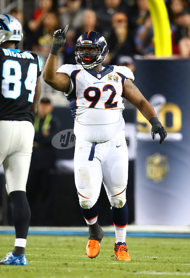 Feb 7, 2016; Santa Clara, CA, USA; Denver Broncos defensive tackle Sylvester Williams (92) celebrates a play against the Carolina Panthers in Super Bowl 50 at Levi's Stadium. Mandatory Credit: Mark J. Rebilas-USA TODAY Sports