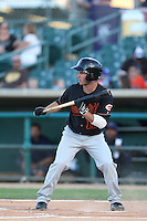 Beau Amaral #12 of the Bakersfield Blaze bunts during a game against the Lancaster JetHawks at The Hanger on May 13, 2014 in Lancaster California. Lancaster defeated Bakersfield, 1-0. (Larry Goren/Four Seam Images)
