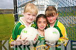 BRIGHT STARS: Young footballers from North  Kerry enjoying the Kerry GAA/VHI Cul Camp in Ballybunion on Thursday last.. L/r. sara Long (Ballybunion), Cara Henry (Asdee) and Rebecca Long (Lisselton)..