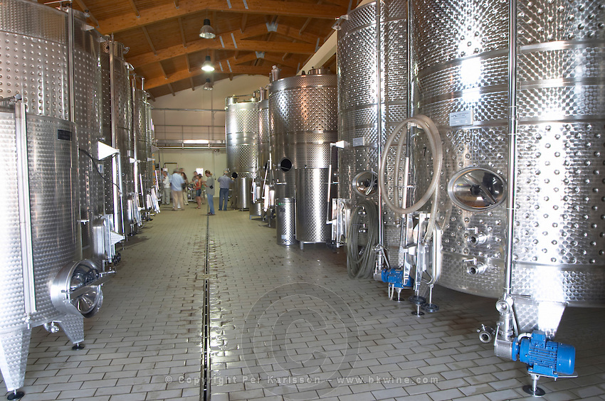 Fermentation tanks. Wine Art Estate Winery, Microchori, Drama, Macedonia, Greece