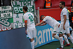 17.03.2019, BayArena, Leverkusen, GER, 1. FBL, Bayer 04 Leverkusen vs. SV Werder Bremen,<br />  <br /> DFL regulations prohibit any use of photographs as image sequences and/or quasi-video<br /> <br /> im Bild / picture shows: <br /> die Bremer feiern vor der Kurve das 3:1<br /> <br /> Foto © nordphoto / Meuter
