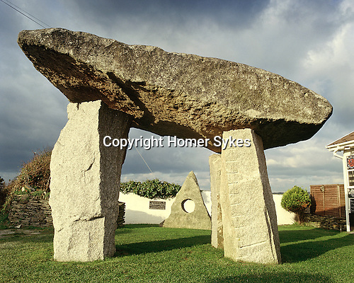 The Angels Runway, St Saint Merryn, Near Nr Padstow, Cornwall. UK. Celtic Britain published by Orion. A contemporary megalithic monument created by Ed Edward Prynn in his megalithic garden.