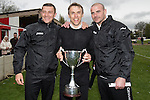 © Joel Goodman - 07973 332324 . 25/04/2015 . Salford , UK . Phil Neville (c) with the cup . Evostick League champions , Salford FC , play Osset Town , in Salford . Photo credit : Joel Goodman
