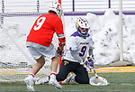 University at Albany Men's Lacrosse defeats Cornell 11-9 on Mar 4 at Casey Stadium.  J.D.  Colarusso (#9) picks up a save.