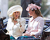 KATE AND CAMILLA RIDE IN CARRIAGE<br /> to the Trooping of the Colour Parade at Horse Guards.<br /> The Duchess of Cambridge is 8 months into her pregnancy.<br /> The event marks the Queen's Official Birthday, The Mall, London_15th June 2013<br /> Photo Credit: &copy;Reynolds/NEWSPIX INTERNATIONAL<br /> <br /> **ALL FEES PAYABLE TO: &quot;NEWSPIX INTERNATIONAL&quot;**<br /> <br /> PHOTO CREDIT MANDATORY!!: NEWSPIX INTERNATIONAL<br /> <br /> IMMEDIATE CONFIRMATION OF USAGE REQUIRED:<br /> Newspix International, 31 Chinnery Hill, Bishop's Stortford, ENGLAND CM23 3PS<br /> Tel:+441279 324672  ; Fax: +441279656877<br /> Mobile:  0777568 1153<br /> e-mail: info@newspixinternational.co.uk