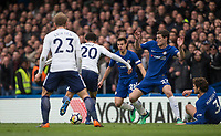 Dele Alli of Spurs scores his second goal during the Premier League match between Chelsea and Tottenham Hotspur at Stamford Bridge, London, England on 1 April 2018. Photo by Andy Rowland.