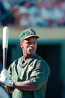 OAKLAND, CA - Rickey Henderson of the Oakland Athletics takes batting practice before a game at the Oakland Coliseum in Oakland, California in 1988. Photo by Brad Mangin