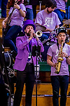 26 January 2019: University of Vermont Catamount Co-director of the Pep Band, Neil Wacek, plays trumpet in lavender attire to help celebrate the Rally Against Cancer game against the Stony Brook Seawolves at Patrick Gymnasium in Burlington, Vermont. The Lady Seawolves defeated the Lady Catamounts 67-61 in America East Women's Basketball. Mandatory Credit: Ed Wolfstein Photo *** RAW (NEF) Image File Available ***
