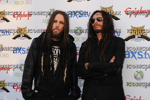 Brian 'Head' Welch and James 'Munky' Shaffer of Korn walk the Black Carpet at the Revolver Golden Gods Awards presented by Epiphone held at Club Nokia in Los Angeles, CA USA on May 2, 2013. Photo © Kevin Estrada / IconicPix