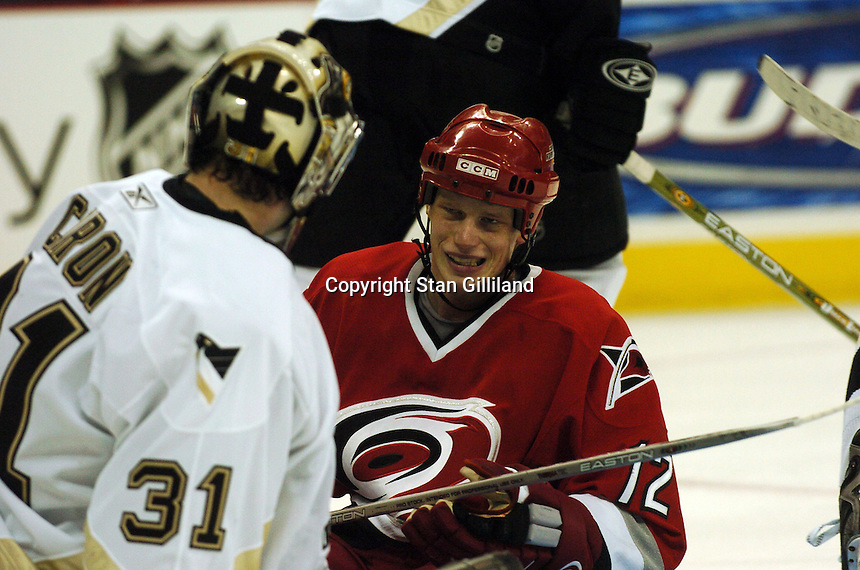 Carolina Hurricanes' Eric Staal shows his frustration after being stopped by the Pittsburgh Penguins' goaltender Sebastien Caron in Raleigh, NC Friday, February 10, 2006. The Penguins won the game 4-3...