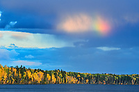 Rainbow over Waskasiu Lake<br /> Prince Albert National Park<br /> Saskatchewan<br /> Canada