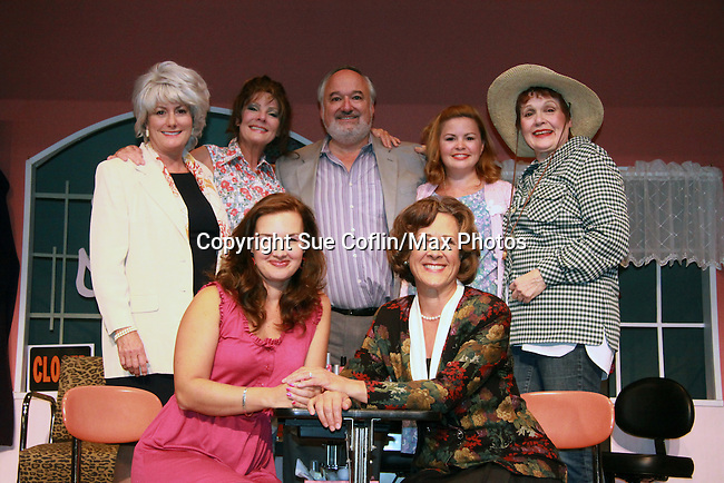 "Closing Night - As The World Turns Ellen Dolan stars in Steel Magnolias on September 10, 2011 at the Cape May Stage in Cape May, New Jersey and she poses with the cast. IN THIS PHOTO: Starring in the play are  left to right in curtain call photo: Kate McCauley Hathaway (mother to actress Anne Hathaway), Ellen Dolan (ATWT), Roy Steinberg (see below), Nicole Lowrance, Marlena Lustik (was on A/W and OLTL & wife of Roy Steinberg), Meredith Riley Stewart and Karen Ziemba. Roy Steinberg is the Artistic Director of Cape May Stage for the last three years. Roy was director at AMC followed by being a director and producer at Guiding Light and until recently at Days of Our Lives. He was ""Dr. Longo"" on Another World. (Photo by Sue Coflin/Max Photos)"