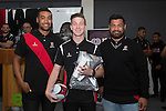 Under 16's Most Improved Player Harry Lunny from Rosehill College with Steelers Jimmy Tupou and Jordan Taufua. Counties Manukau Rugby Unions Junior Prize giving held at ECOLight stadium on Thursday October 22nd 2015. Photo by Richard Spranger
