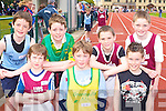 Eva Winter Listowel, Tomas O'Neill Gneeveguilla, Liam Kennedy Tralee Harriers. Back row: Jimmy Shanahan St Brendan's, Padraig O'Connell Riocht, Kieran Lynch and Catahal O'Sullivan Listowel at the Juvenile Athletic Championships in Castleisland on Sunday   .     Copyright Kerry's Eye 2008