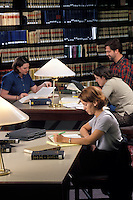 college students studying in library