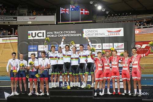 03.03.2016. Lee Valley Velo Centre, London England. UCI Track Cycling World Championships Mens Team Pursuit final.  Podium  for all 3 medalist teams. Team Great Britain DIBBEN Jonathan - CLANCY Edward - DOULL Owain - WIGGINS Bradley - Australia consisting WELSFORD Sam - HEPBURN Michael - SCOTSON Callum - SCOTSON Miles and Denmark - HANSEN Lasse Norman - LARSEN Niklas - MADSEN Frederik - VON FOLSACH Casper