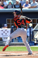 Baltimore Orioles second baseman Matt Antonelli #54 during a spring training game against the Tampa Bay Rays at the Charlotte County Sports Park on March 5, 2012 in Port Charlotte, Florida.  (Mike Janes/Four Seam Images)