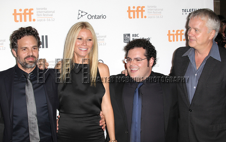Mark Ruffalo, Gwyneth Paltrow, Josh Gad, Patrick Fugit and Actor Tim Robbins attending the The 2012 Toronto International Film Festival.Red Carpet Arrivals for 'Thanks For Sharing' at the Ryerson Theatre in Toronto on 9/8/2012