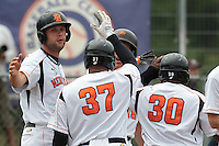 24 july 2010: #37 Bryan Engelhardt of Netherlands is congratulated after a home run during Netherlands 10-0 victory over France, in day 2 of the 2010 European Championship Seniors, in Neuenburg, Germany.