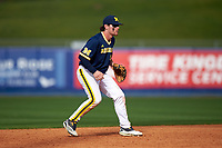 Michigan Wolverines shortstop Michael Brdar (9) during the second game of a doubleheader against the Canisius College Golden Griffins on February 20, 2016 at Tradition Field in St. Lucie, Florida.  Michigan defeated Canisius 3-0.  (Mike Janes/Four Seam Images)